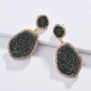 Anthro Druzy Quartz Drop Earrings in Green